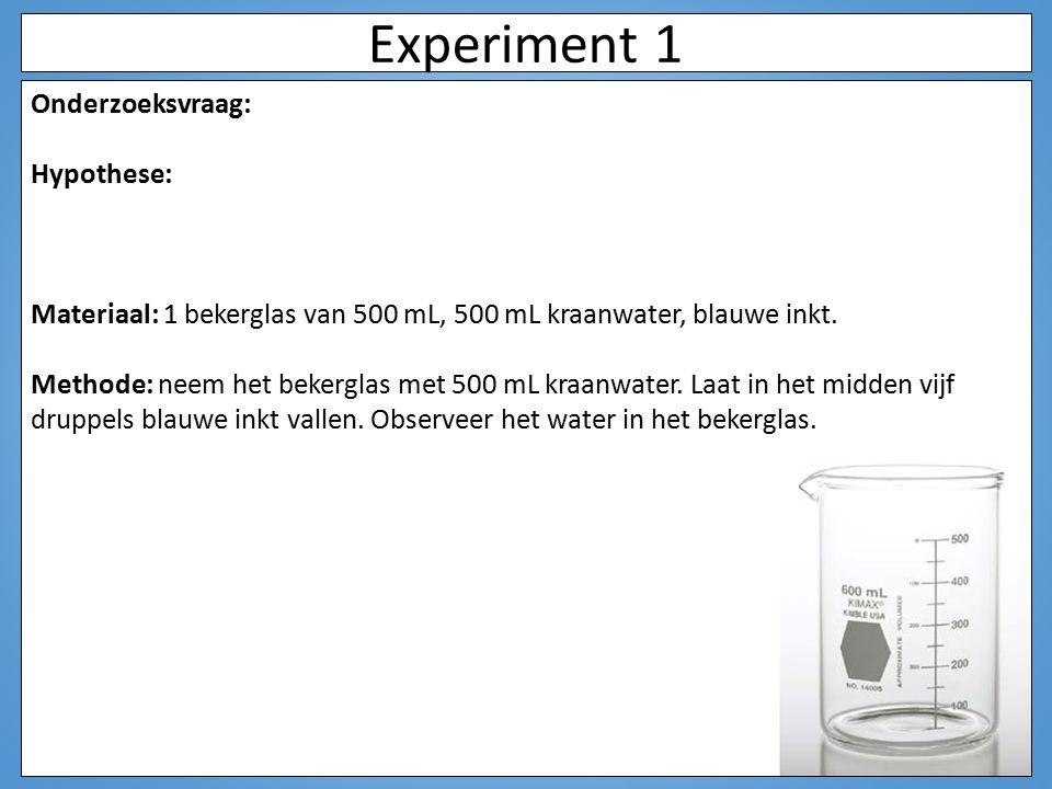 Experiment 1 Onderzoeksvraag: verplaatsen druppels blauwe inkt zich in water? Hypothese: de blauwe inkt verspreidt zich door het water zodat het water