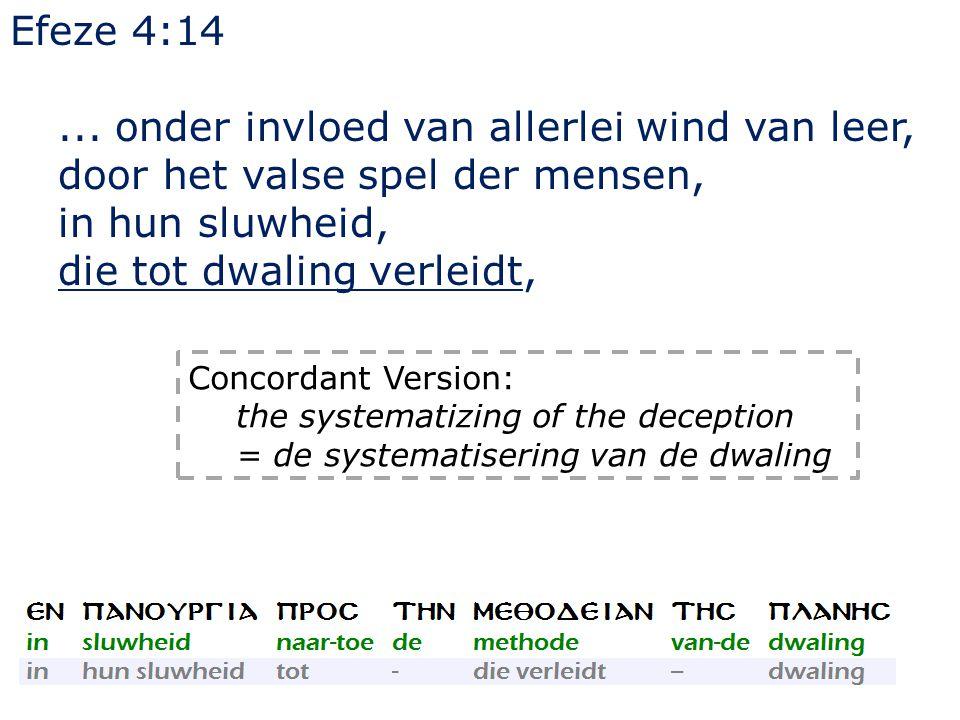 Efeze 4:14... onder invloed van allerlei wind van leer, door het valse spel der mensen, in hun sluwheid, die tot dwaling verleidt, Concordant Version: