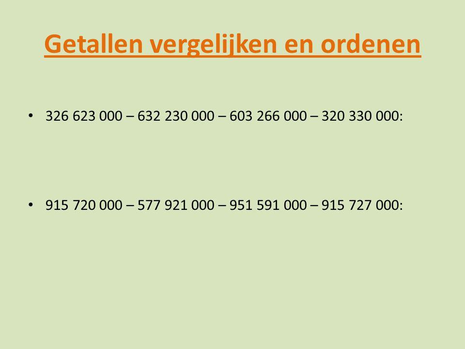 Getallen vergelijken en ordenen 326 623 000 – 632 230 000 – 603 266 000 – 320 330 000: 915 720 000 – 577 921 000 – 951 591 000 – 915 727 000: