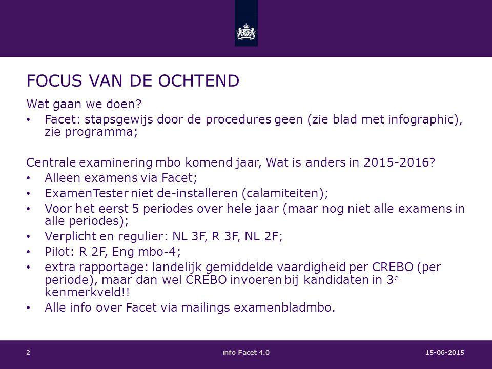 PROGRAMMERING KOMEND JAAR 15-06-2015info Facet 4.03 P1: 15 en 16 september; Resultaat op 18-09 Dus: voor 1-09-15 systeemcheck met FT examen; Dus: tijdige installatie, inrichting en toewijzing van rollen en taken; P1P2P3P4P5 NL 3F ( 1 dag)NL 3F (audio+ vis.) R 3F (1 dag)R 3F (vis.), 3 ER NL 2F (audio+ vis.) R 2F, 2 ER, (+vis.)R 2F, 2A, 2 ER, (+vis.)R 2F, 2 ER, (+vis.)R 2F, 2A, 2 ER, (+vis.) Eng