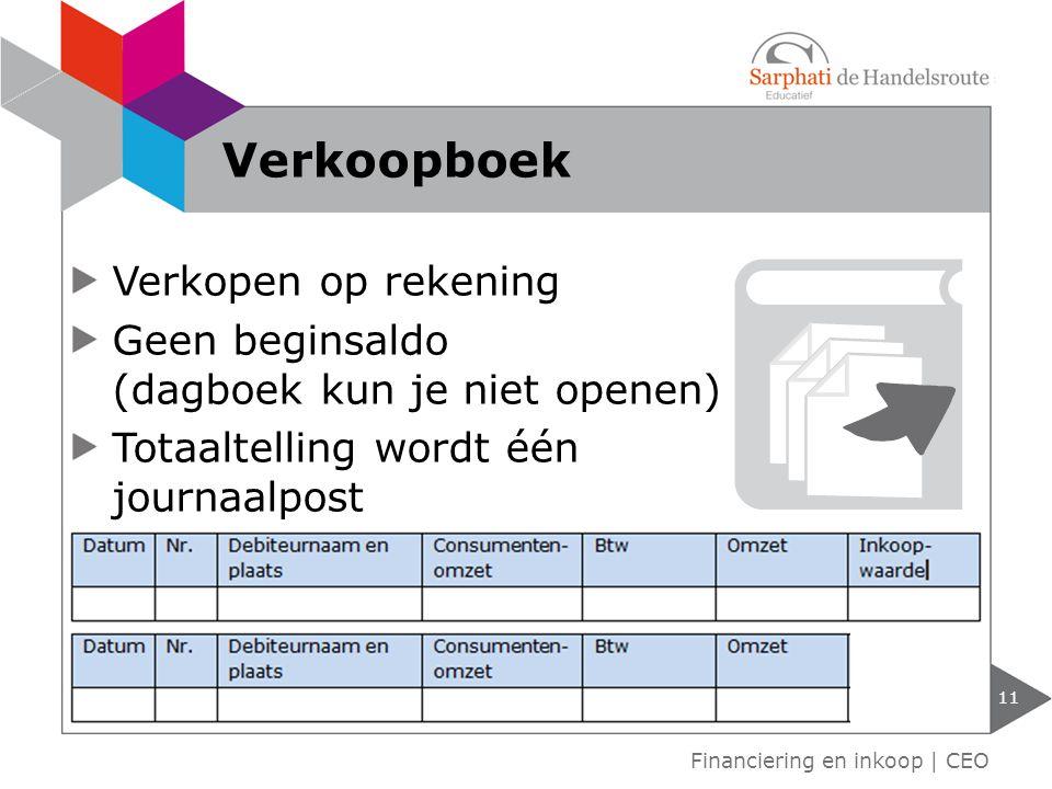 Verkopen op rekening Geen beginsaldo (dagboek kun je niet openen) Totaaltelling wordt één journaalpost 11 Financiering en inkoop | CEO Verkoopboek