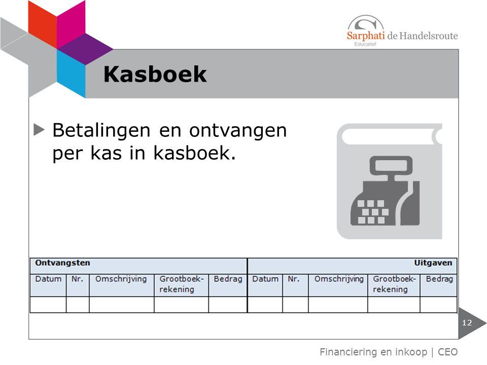 Betalingen en ontvangen per kas in kasboek. 12 Financiering en inkoop | CEO Kasboek