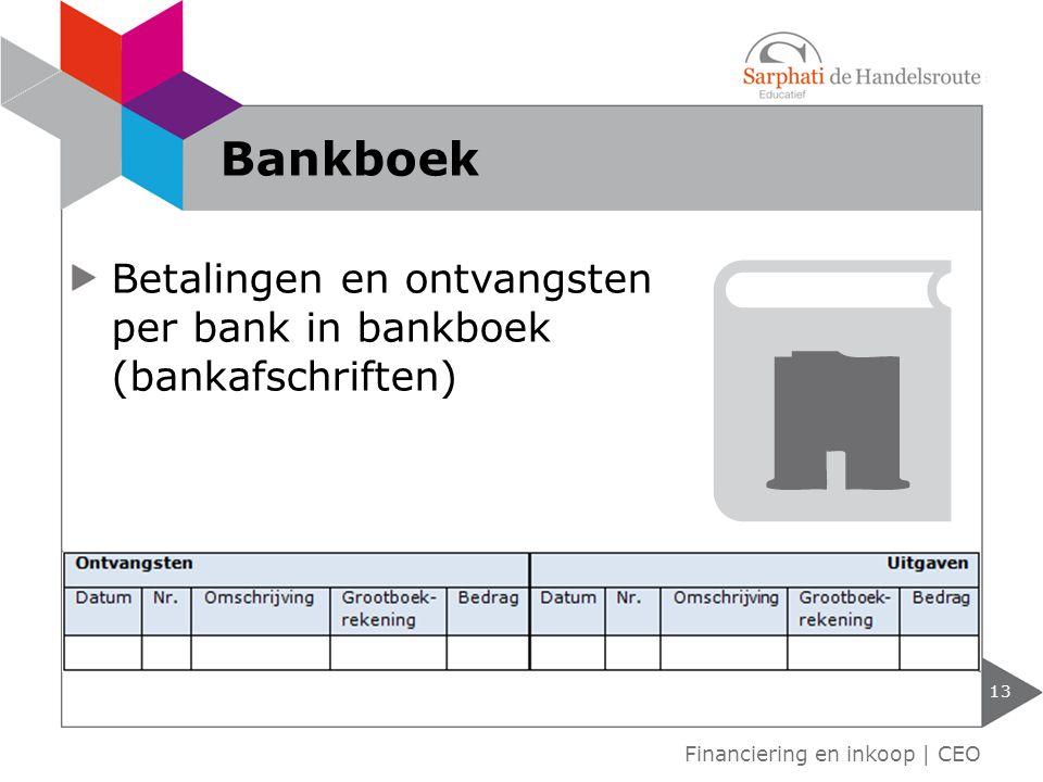 Betalingen en ontvangsten per bank in bankboek (bankafschriften) 13 Financiering en inkoop | CEO Bankboek