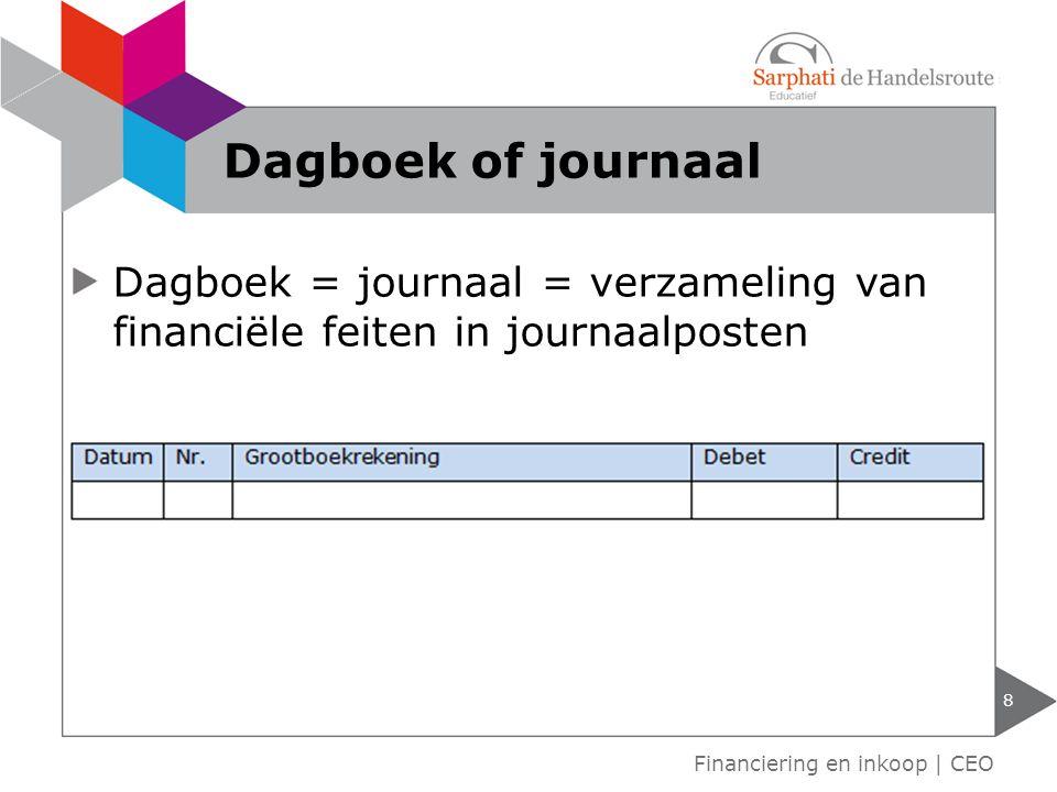 Dagboek = journaal = verzameling van financiële feiten in journaalposten 8 Financiering en inkoop | CEO Dagboek of journaal