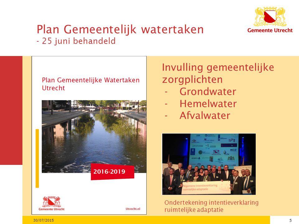 5 30/07/2015 Invulling gemeentelijke zorgplichten -Grondwater -Hemelwater -Afvalwater Ondertekening intentieverklaring ruimtelijke adaptatie Plan Gemeentelijk watertaken - 25 juni behandeld