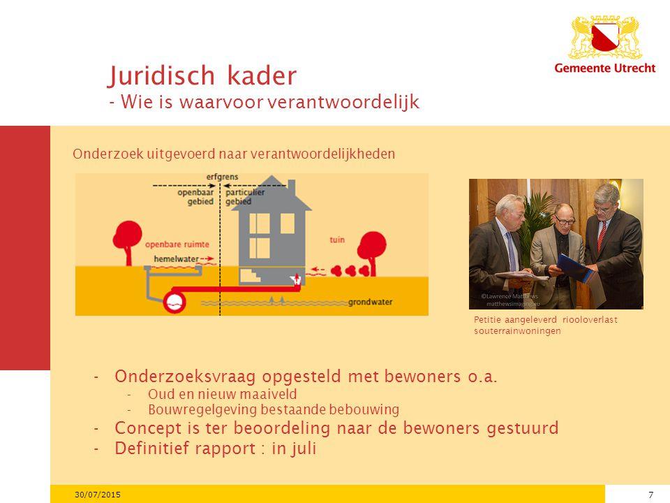 7 30/07/2015 Juridisch kader - Wie is waarvoor verantwoordelijk Onderzoek uitgevoerd naar verantwoordelijkheden Petitie aangeleverd riooloverlast souterrainwoningen -Onderzoeksvraag opgesteld met bewoners o.a.