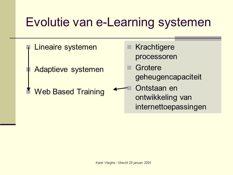 Karel Vlieghe - Utrecht 29 januari 2005 Evolutie van e-Learning systemen Lineaire systemen Adaptieve systemen Web Based Training Krachtigere processoren Grotere geheugencapaciteit Ontstaan en ontwikkeling van internettoepassingen