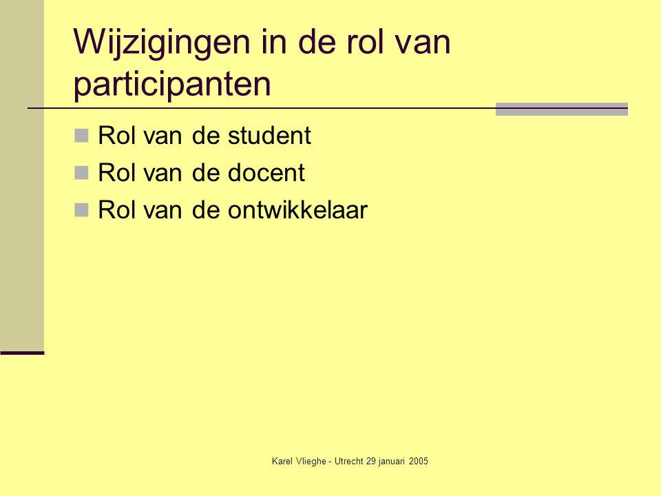 Karel Vlieghe - Utrecht 29 januari 2005 Wijzigingen in de rol van participanten Rol van de student Rol van de docent Rol van de ontwikkelaar