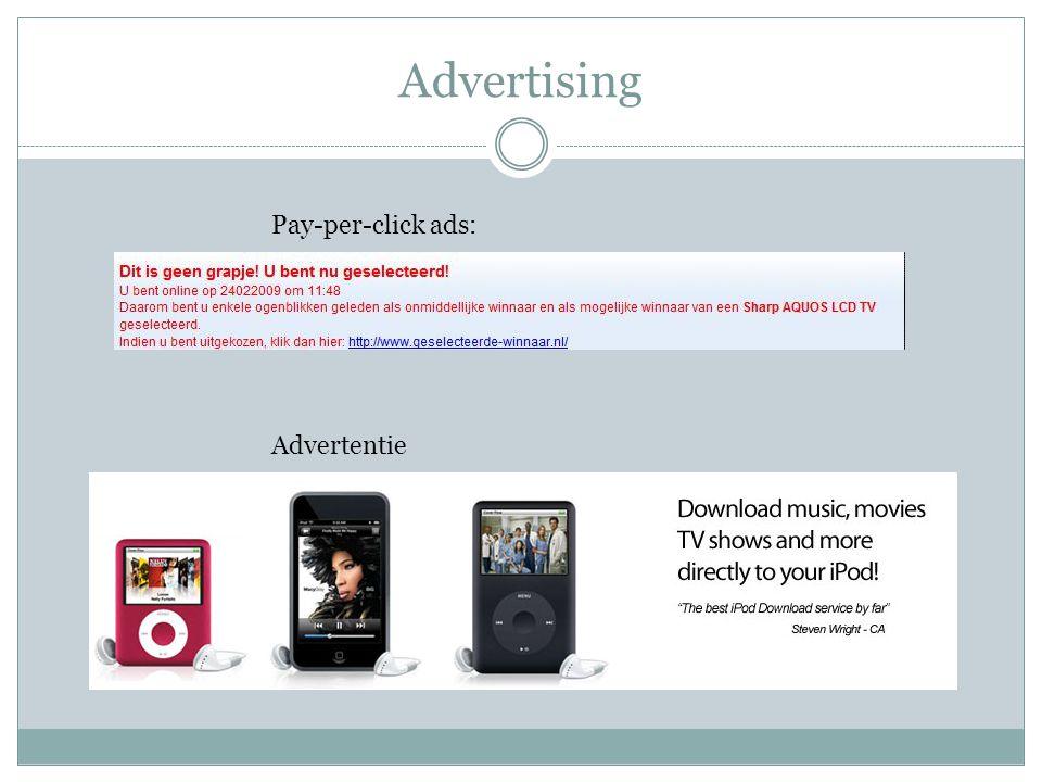 Monopoliepositie Google AdSense  Per klik betaald  Gebruik maken van content op website  Linken van andere websites