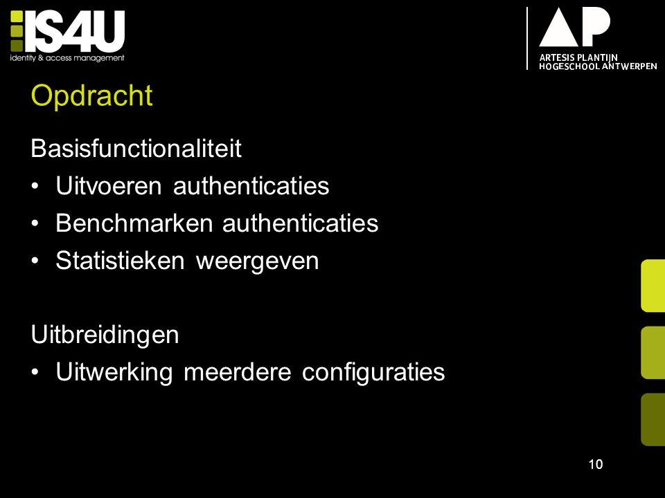 Opdracht Basisfunctionaliteit Uitvoeren authenticaties Benchmarken authenticaties Statistieken weergeven Uitbreidingen Uitwerking meerdere configurati