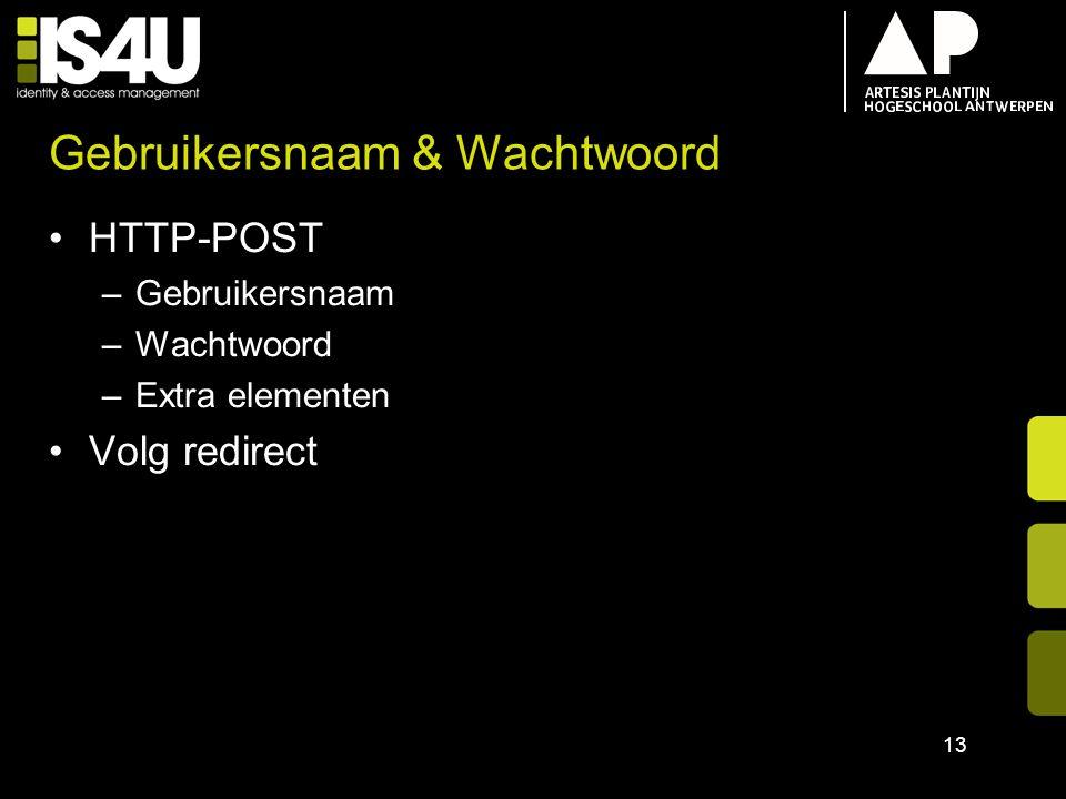 Gebruikersnaam & Wachtwoord HTTP-POST –Gebruikersnaam –Wachtwoord –Extra elementen Volg redirect 13
