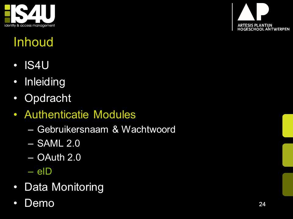 Inhoud IS4U Inleiding Opdracht Authenticatie Modules –Gebruikersnaam & Wachtwoord –SAML 2.0 –OAuth 2.0 –eID Data Monitoring Demo 24