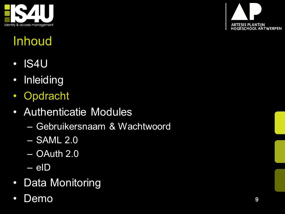 Inhoud IS4U Inleiding Opdracht Authenticatie Modules –Gebruikersnaam & Wachtwoord –SAML 2.0 –OAuth 2.0 –eID Data Monitoring Demo 9