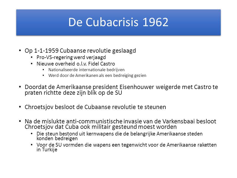 De Cubacrisis 1962 Op 1-1-1959 Cubaanse revolutie geslaagd Pro-VS-regering werd verjaagd Nieuwe overheid o.l.v. Fidel Castro Nationaliseerde internati