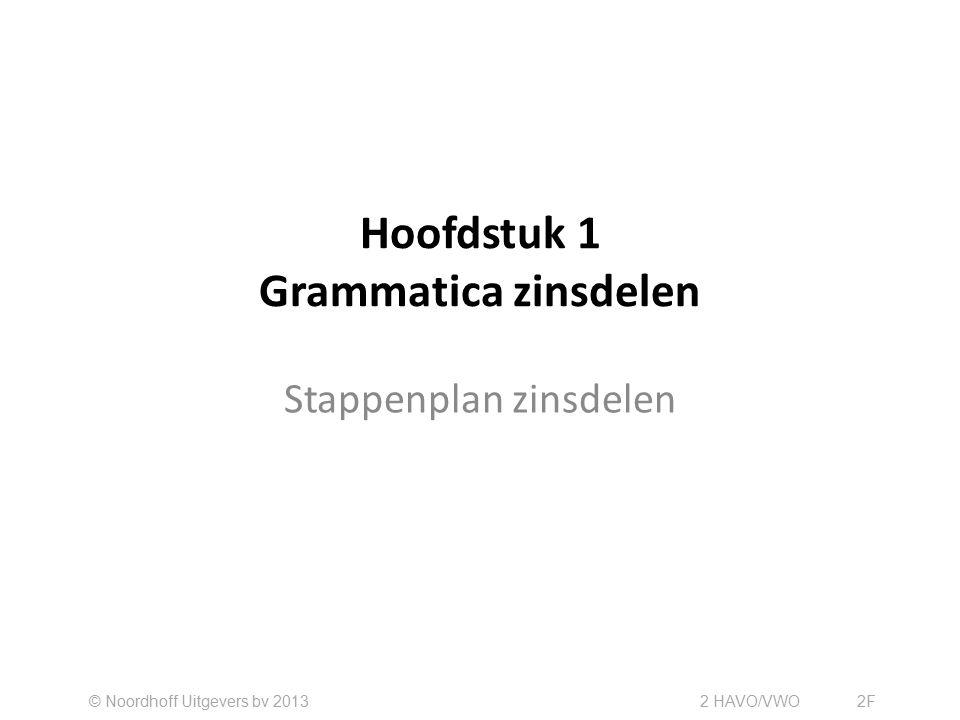 Hoofdstuk 1 Grammatica zinsdelen Stappenplan zinsdelen © Noordhoff Uitgevers bv 2013 2 HAVO/VWO2F