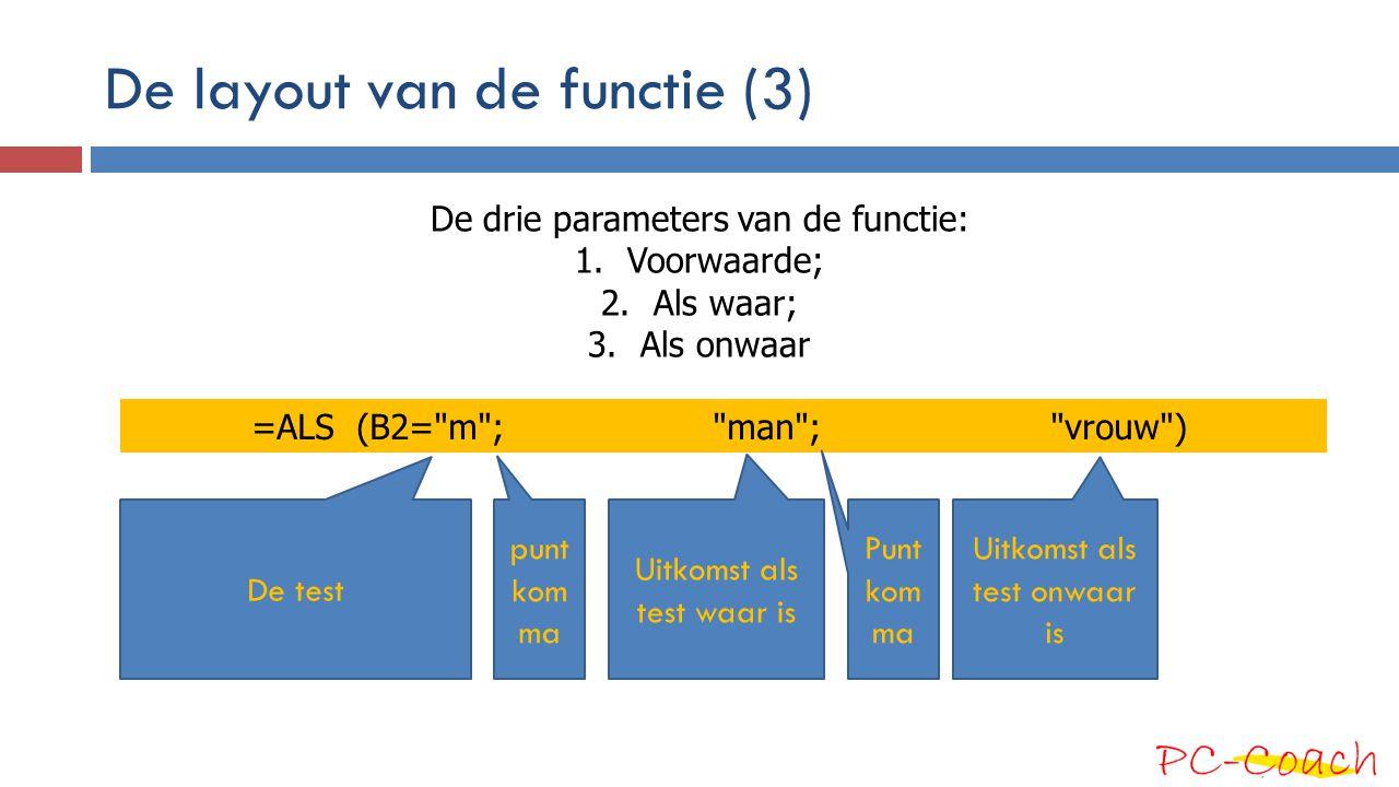 De layout van de functie (3) =ALS (B2=