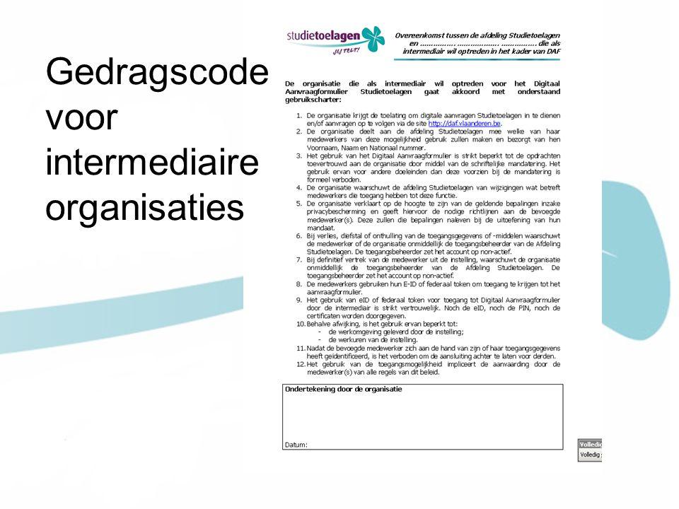 Gedragscode voor intermediaire organisaties