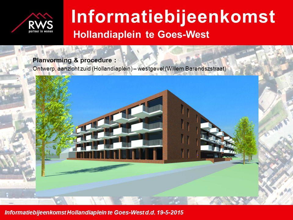 Planvorming & procedure : Ontwerp, aanzicht west (Willem Barendszstraat) – noordgevel (Naereboutstraat) Informatiebijeenkomst Hollandiaplein te Goes-West d.d.