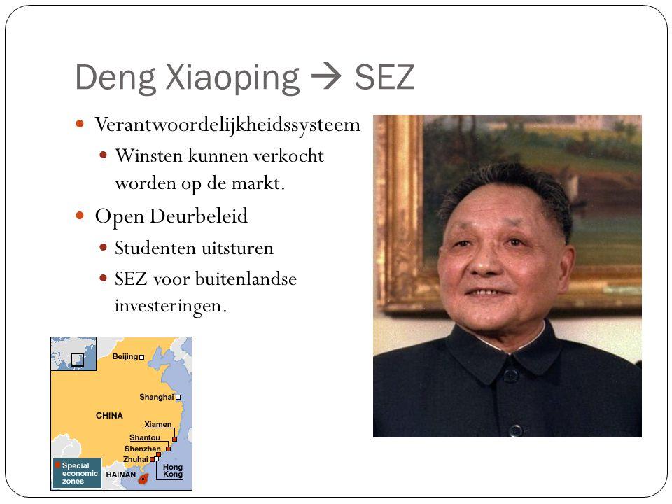Deng Xiaoping  SEZ Verantwoordelijkheidssysteem Winsten kunnen verkocht worden op de markt. Open Deurbeleid Studenten uitsturen SEZ voor buitenlandse