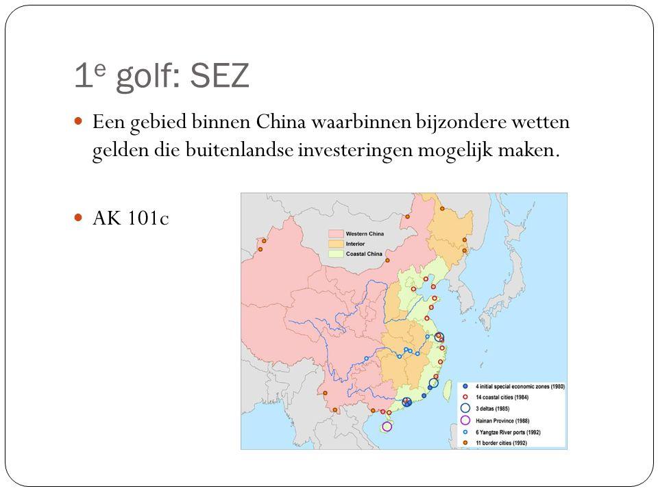 1 e golf: SEZ Een gebied binnen China waarbinnen bijzondere wetten gelden die buitenlandse investeringen mogelijk maken. AK 101c