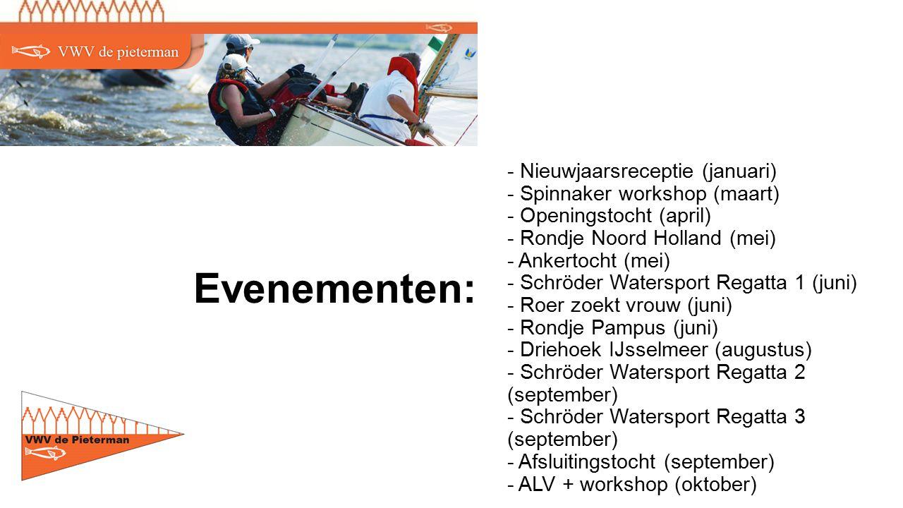 - Nieuwjaarsreceptie (januari) - Spinnaker workshop (maart) - Openingstocht (april) - Rondje Noord Holland (mei) - Ankertocht (mei) - Schröder Watersport Regatta 1 (juni) - Roer zoekt vrouw (juni) - Rondje Pampus (juni) - Driehoek IJsselmeer (augustus) - Schröder Watersport Regatta 2 (september) - Schröder Watersport Regatta 3 (september) - Afsluitingstocht (september) - ALV + workshop (oktober) Evenementen: