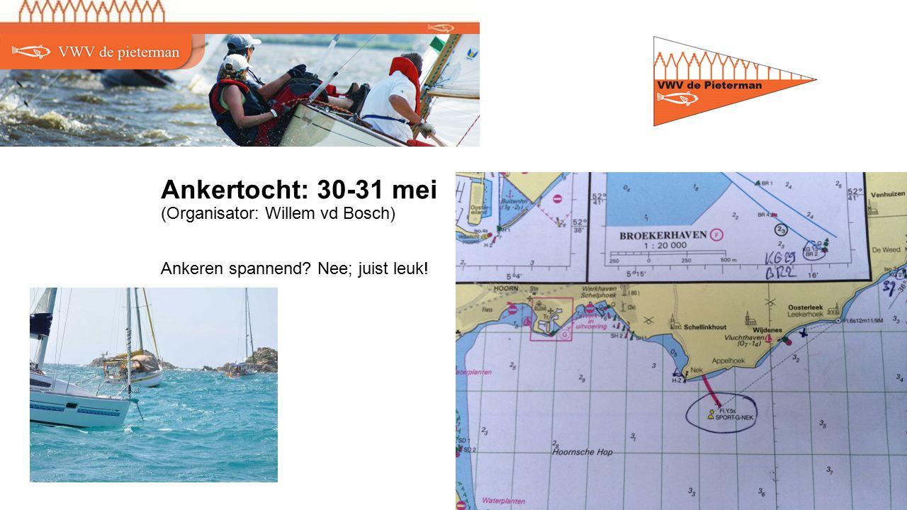 Ankertocht: 30-31 mei (Organisator: Willem vd Bosch) Ankeren spannend Nee; juist leuk!