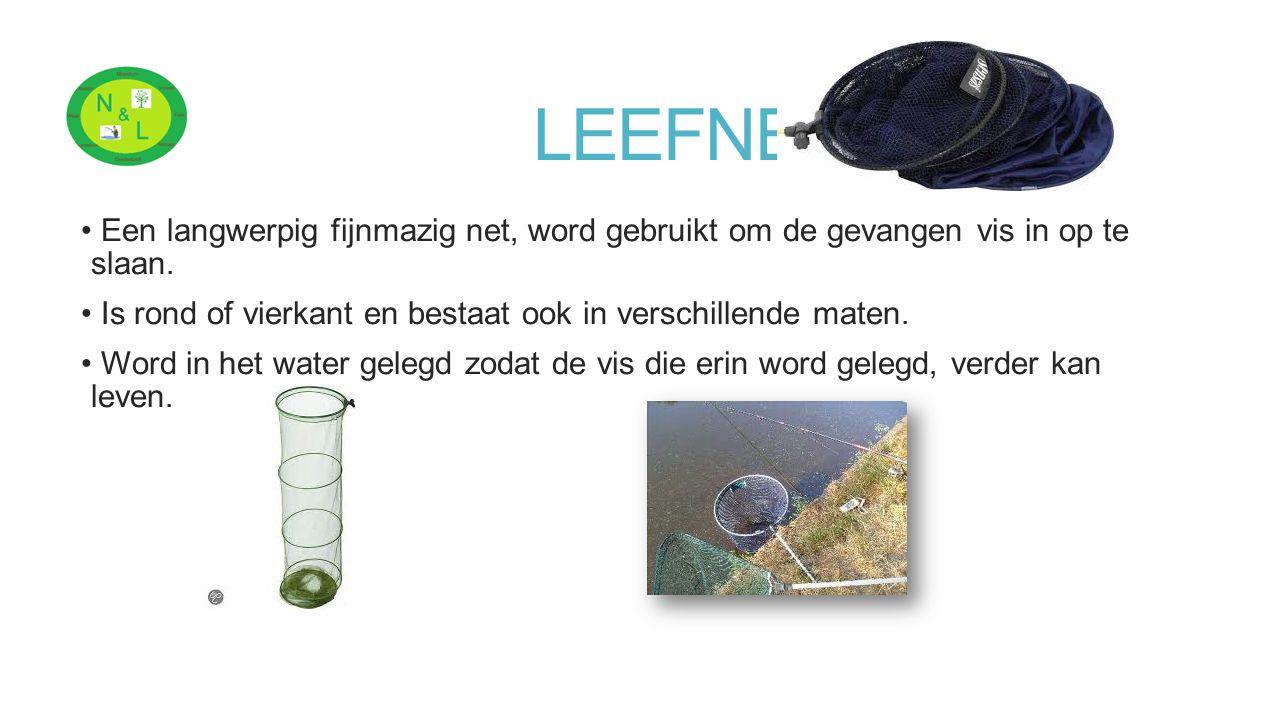 LEEFNET Een langwerpig fijnmazig net, word gebruikt om de gevangen vis in op te slaan. Is rond of vierkant en bestaat ook in verschillende maten. Word
