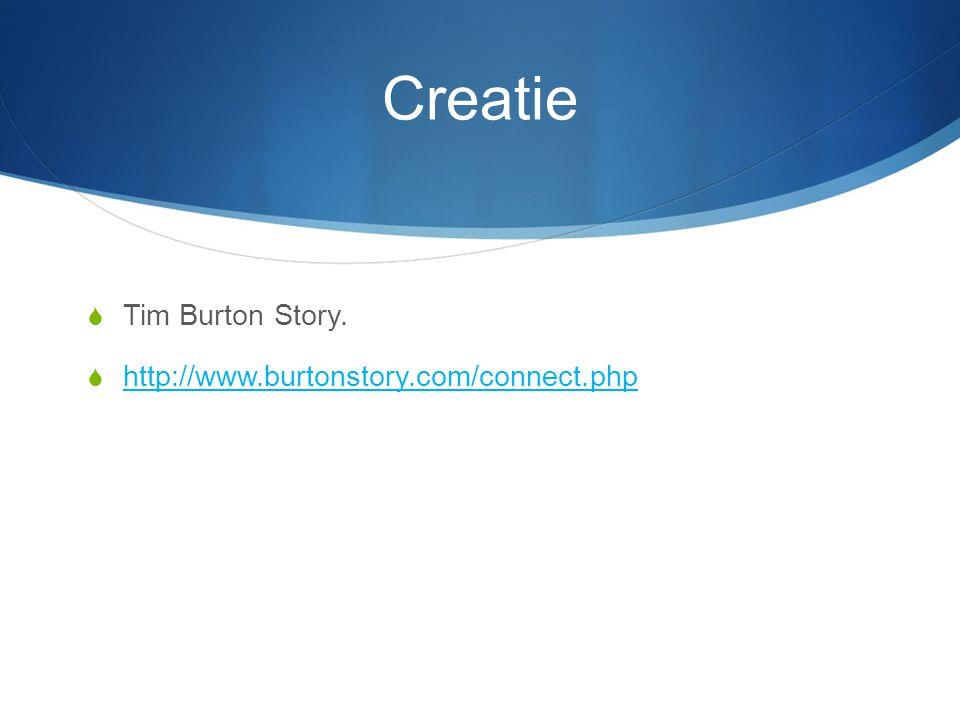 Creatie  Tim Burton Story.  http://www.burtonstory.com/connect.php http://www.burtonstory.com/connect.php