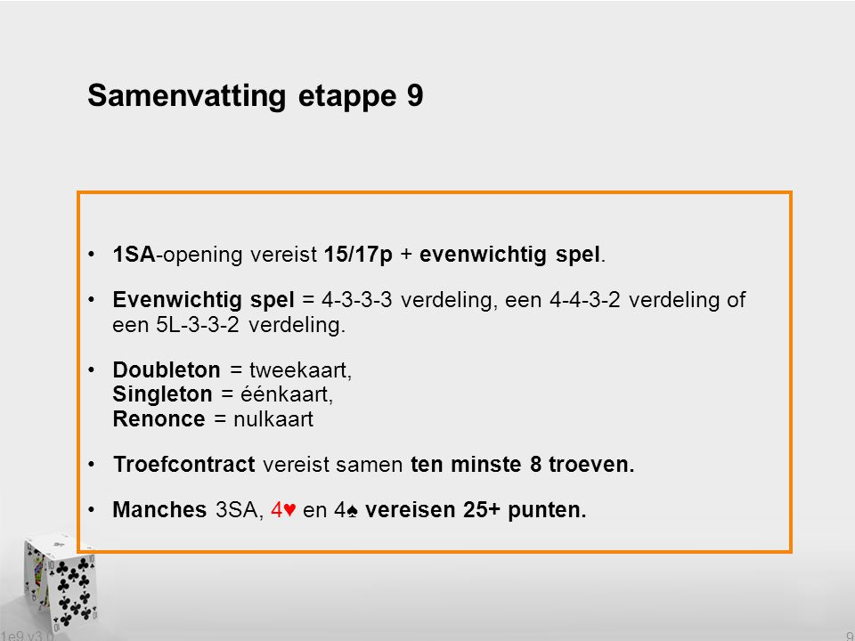 1e9 v3.0 9 1SA-opening vereist 15/17p + evenwichtig spel.