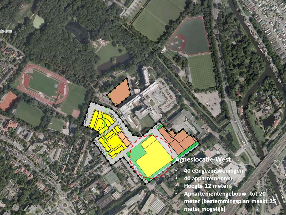 Agneslocatie-West 40 eengezinswoningen 40 appartementen Hoogte 12 meter Appartementengebouw tot 20 meter (bestemmingsplan maakt 25 meter mogelijk)