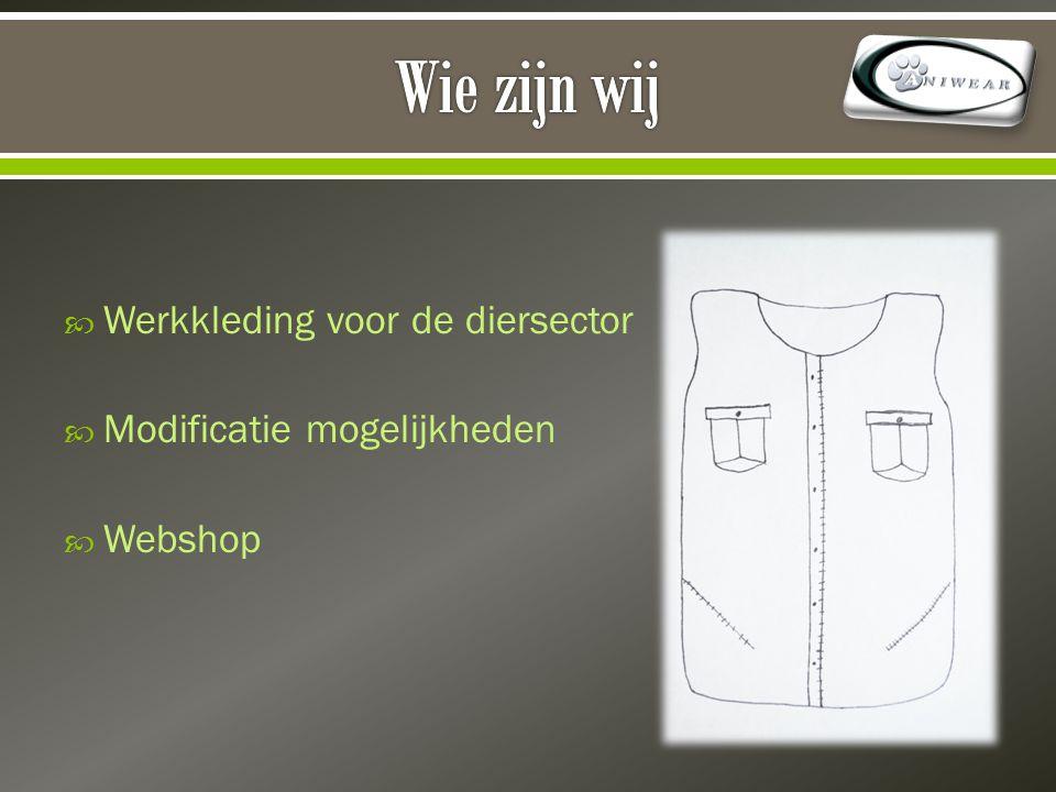  Werkkleding voor de diersector  Modificatie mogelijkheden  Webshop