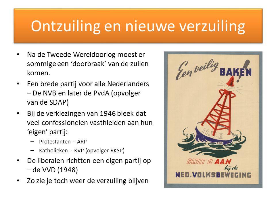 Ontzuiling en nieuwe verzuiling Na de Tweede Wereldoorlog moest er sommige een 'doorbraak' van de zuilen komen. Een brede partij voor alle Nederlander