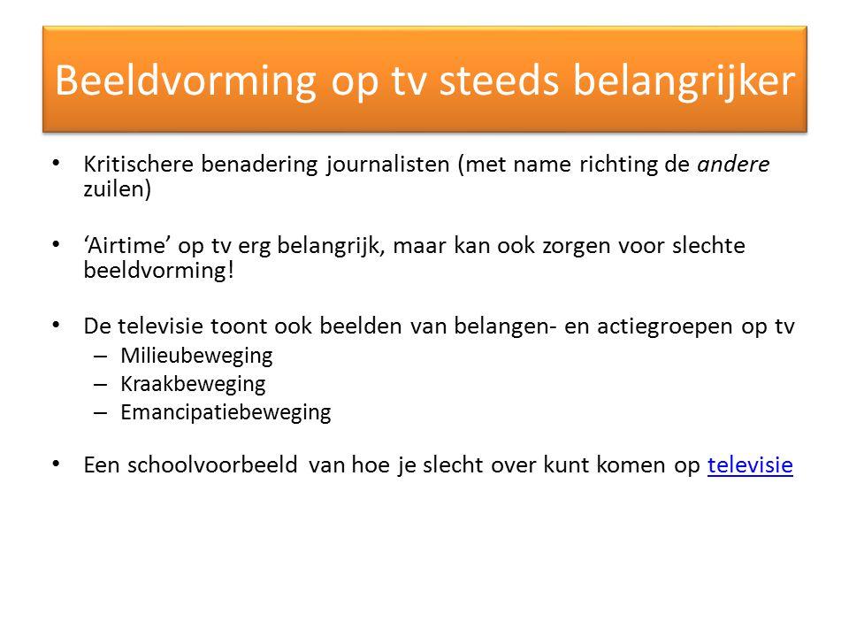 Beeldvorming op tv steeds belangrijker Kritischere benadering journalisten (met name richting de andere zuilen) 'Airtime' op tv erg belangrijk, maar k