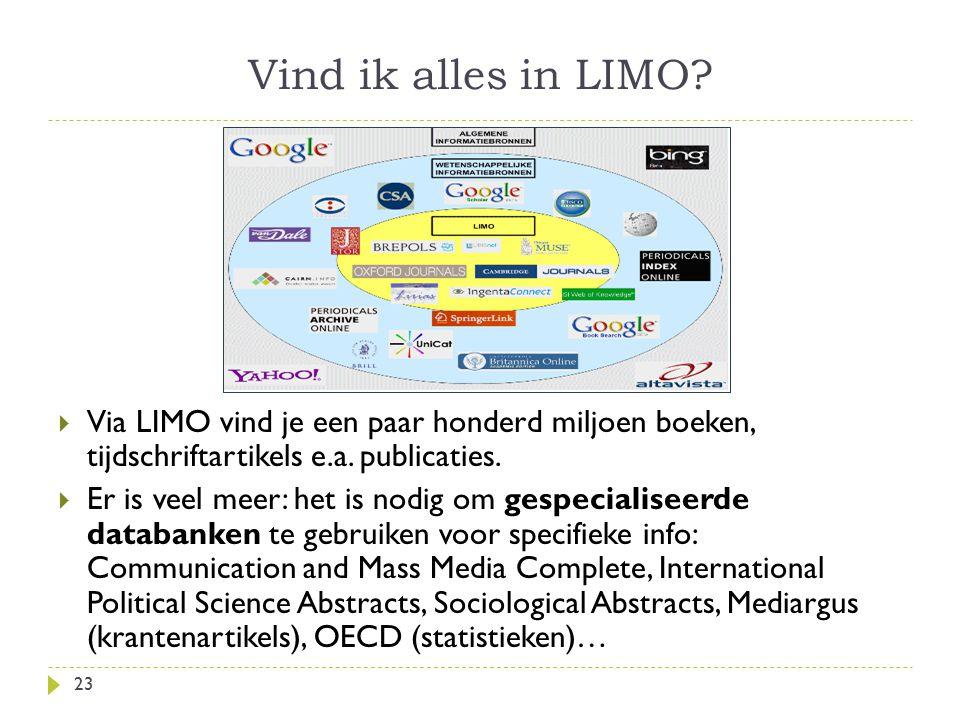 Vind ik alles in LIMO? 23  Via LIMO vind je een paar honderd miljoen boeken, tijdschriftartikels e.a. publicaties.  Er is veel meer: het is nodig om
