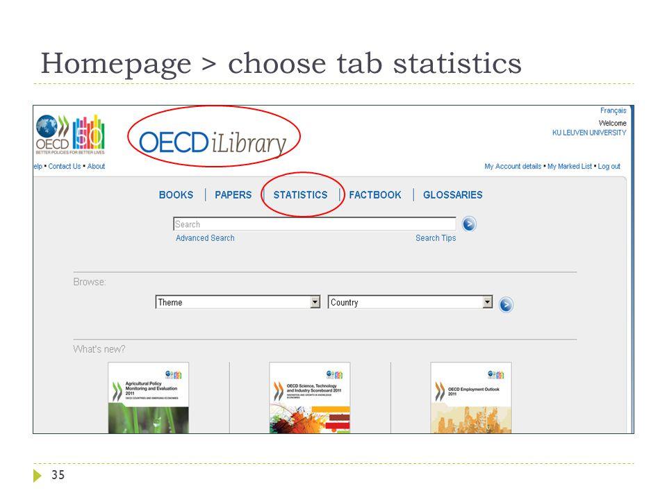 Homepage > choose tab statistics 35