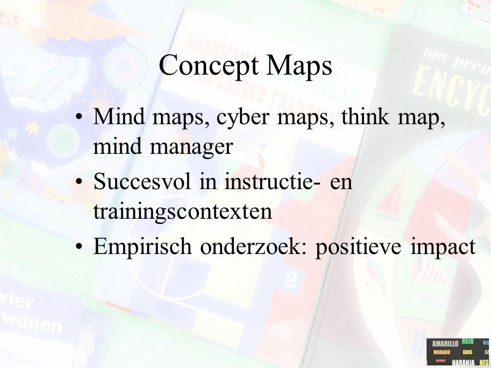 Concept maps: toepassingen gekende en nieuwe begrippen/ideeën aan elkaar relateren; misvattingen/fouten in de eigen kennis/ideeën opsporen; als basis voor een brainstorming sessie; het probleemoplossingsproces; een verhaal voorstellen; een procesverloop uittekenen; een argumentatie in een redenering weergeven; een complexe tekst stap-voor-stap schematisch voor te stellen; een complex idee verklaren aan anderen; oorzaak-gevolg relaties uitwerken; een complexe structuur voorstellen; als basis voor de toetsing van complexe kennis (zie onderzoek van Yin & Shavelson, 2004).