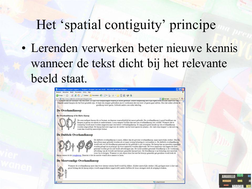 Het multimedia principe Lerenden verwerken beter kennis wanneer tekst verrijkt wordt met beelden.