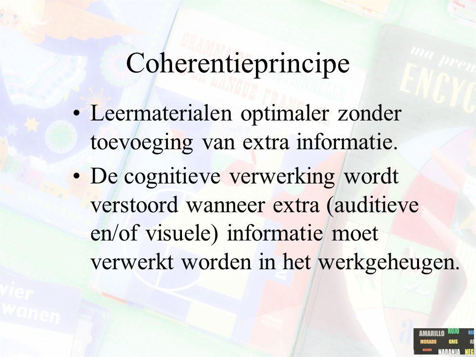 Het 'temporal contiguity' principe Lerenden verwerken effectiever en sneller kennis wanneer tekst en grafische elementen simultaan en niet na elkaar worden aangeboden.