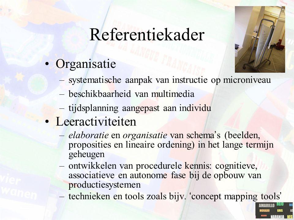 Referentiekader Lerende –De nadruk ligt op het leerproces van het individu. Kenmerken van de lerende –Voorkennis van elke individuele lerende staat ce