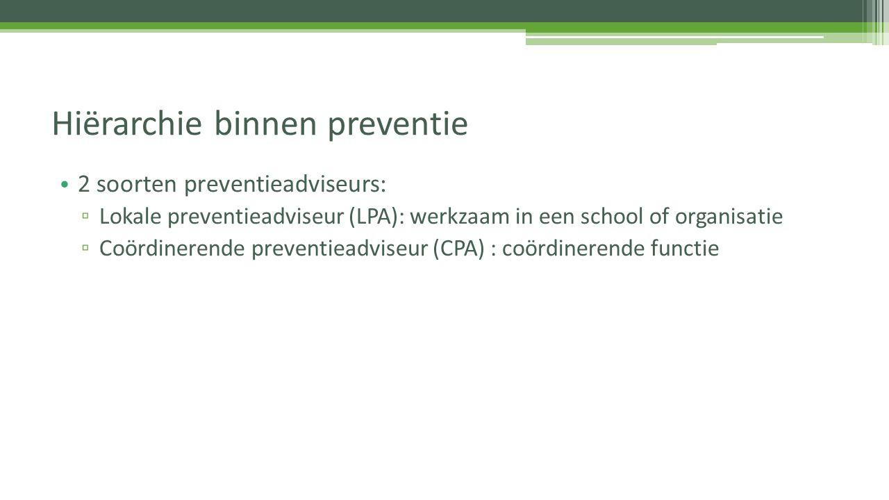 2 soorten preventieadviseurs: ▫ Lokale preventieadviseur (LPA): werkzaam in een school of organisatie ▫ Coördinerende preventieadviseur (CPA) : coördi