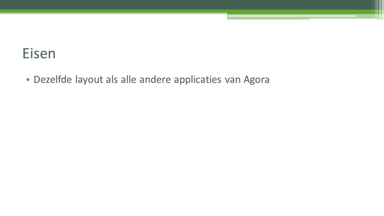Dezelfde layout als alle andere applicaties van Agora Eisen