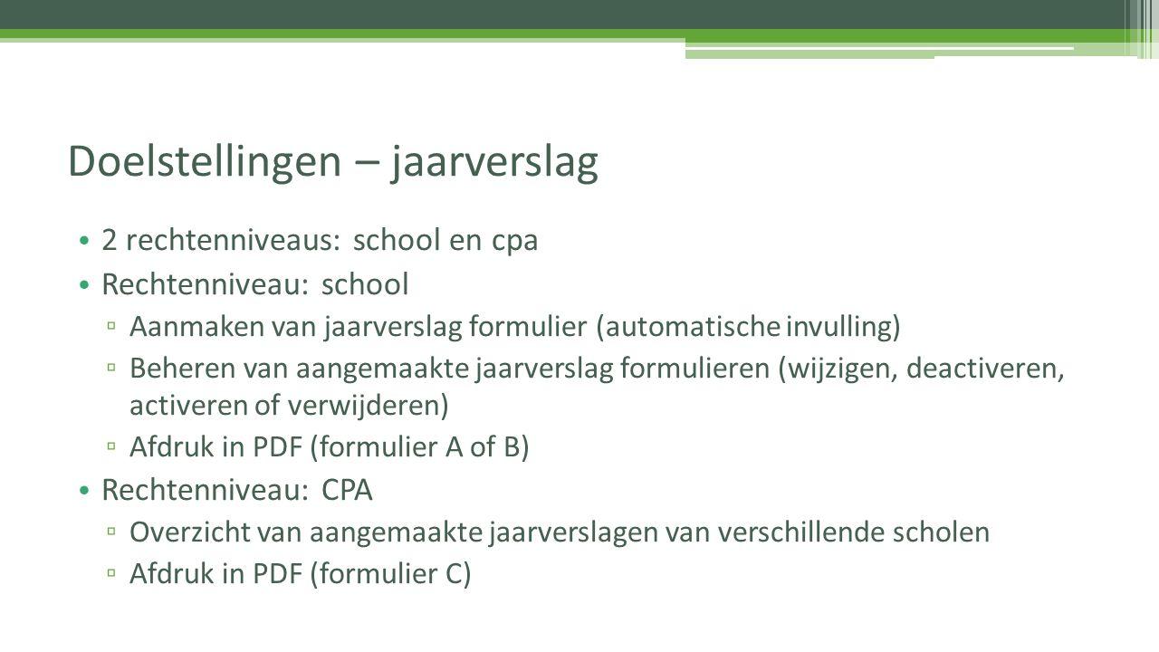 2 rechtenniveaus: school en cpa Rechtenniveau: school ▫ Aanmaken van jaarverslag formulier (automatische invulling) ▫ Beheren van aangemaakte jaarvers