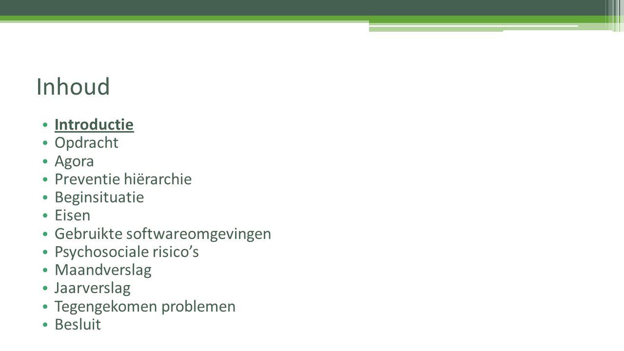 Introductie Opdracht Agora Preventie hiërarchie Beginsituatie Eisen Gebruikte softwareomgevingen Psychosociale risico's Maandverslag Jaarverslag Tegen