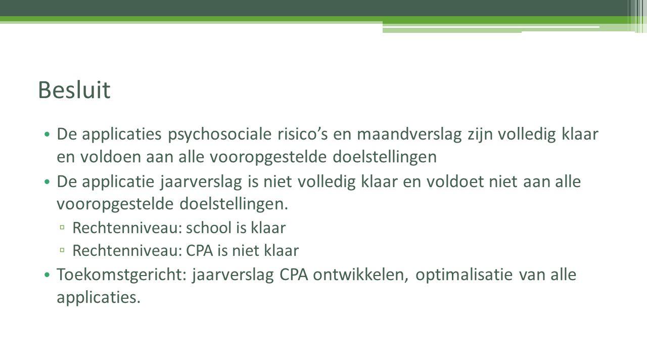 De applicaties psychosociale risico's en maandverslag zijn volledig klaar en voldoen aan alle vooropgestelde doelstellingen De applicatie jaarverslag