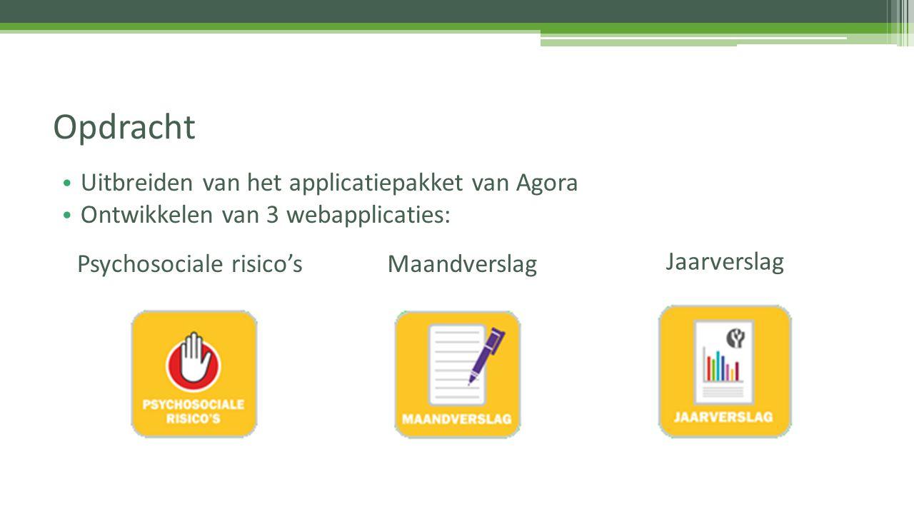 Uitbreiden van het applicatiepakket van Agora Ontwikkelen van 3 webapplicaties: Opdracht Psychosociale risico'sMaandverslag Jaarverslag