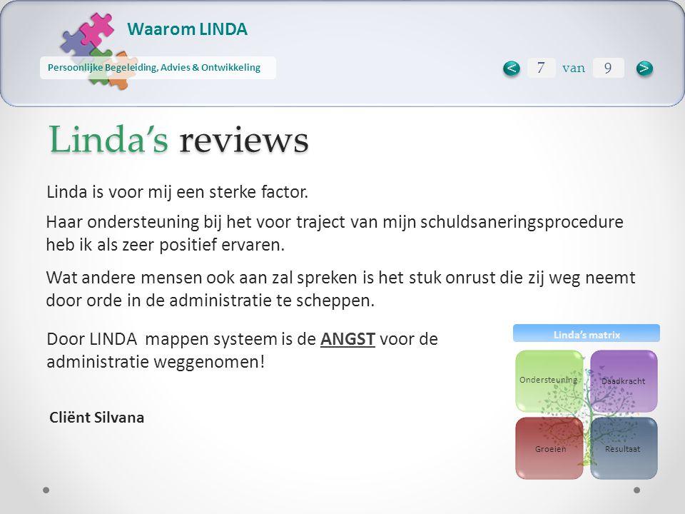 Waarom LINDA Persoonlijke Begeleiding, Advies & Ontwikkeling Ondersteuning Daadkracht ResultaatGroeien Linda's matrix Linda's reviews Door LINDA mappen systeem is de ANGST voor de administratie weggenomen.