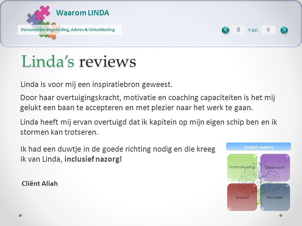 Waarom LINDA Persoonlijke Begeleiding, Advies & Ontwikkeling Ondersteuning Daadkracht ResultaatGroeien Linda's matrix Linda's reviews Ik had een duwtj
