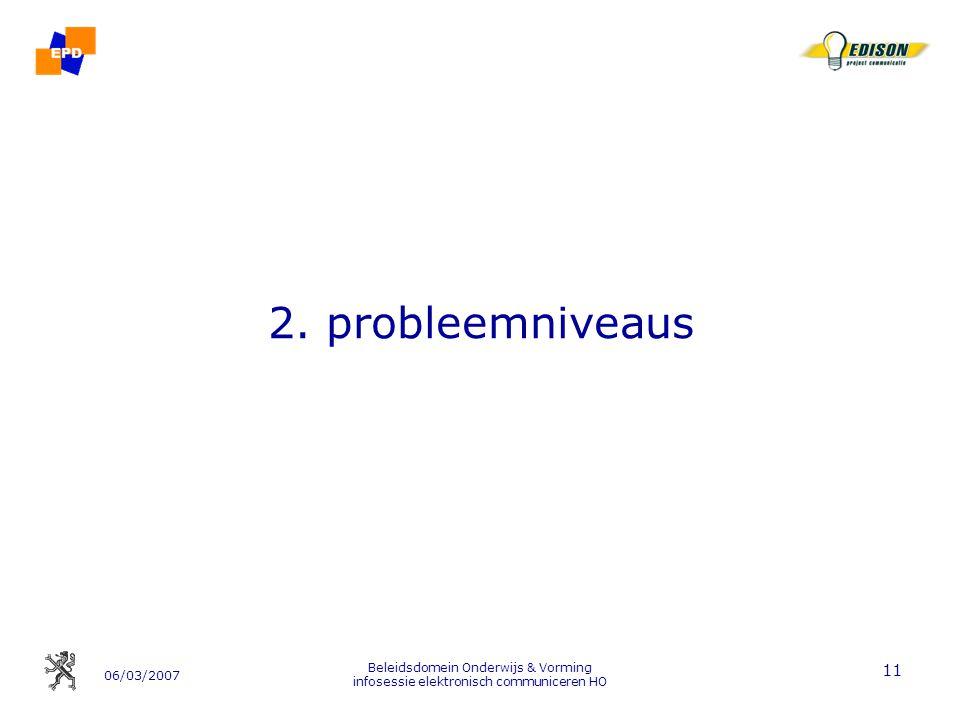 06/03/2007 Beleidsdomein Onderwijs & Vorming infosessie elektronisch communiceren HO 11 2.