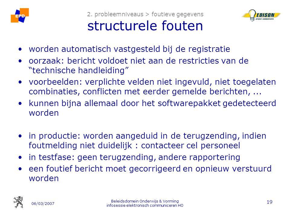06/03/2007 Beleidsdomein Onderwijs & Vorming infosessie elektronisch communiceren HO 19 2.