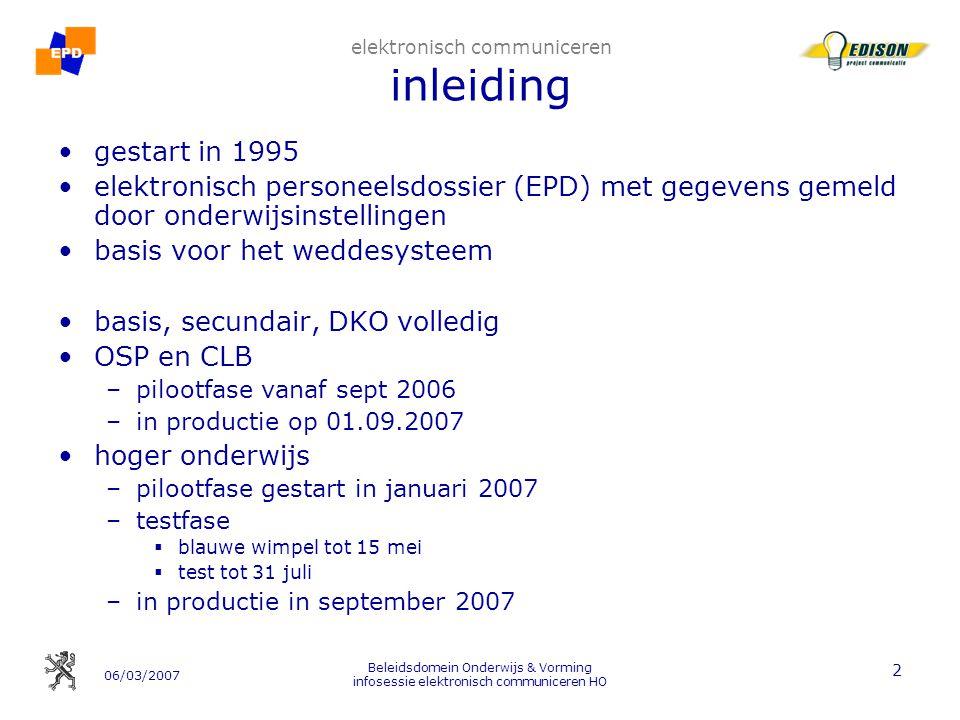 06/03/2007 Beleidsdomein Onderwijs & Vorming infosessie elektronisch communiceren HO 13 2.